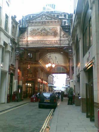 fig #3 –  Entrance to London Metals Exchange, Leadenhall Market (right) – circa 2012 – courtesy Peter Goodburn