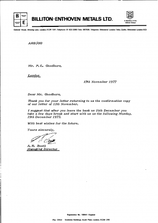 fig #5 –  PG's Trading Employment contract – Billiton-Enthoven Metals – circa November 19th 1977